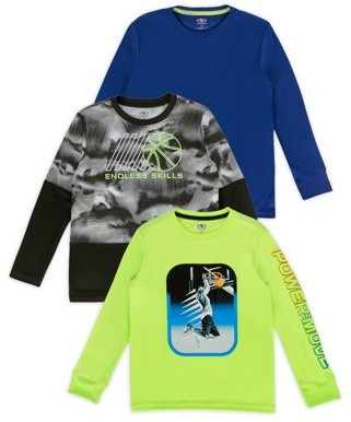 Athletic Works Boys Graphics and Solid Long Sleeve 3-Pack Shirts, Sizes 4-20 & Husky