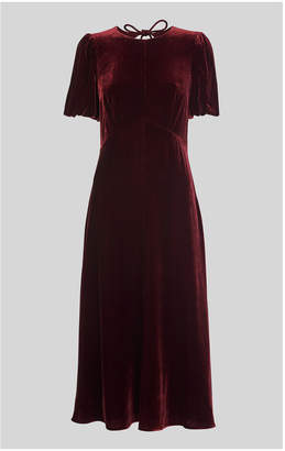 Whistles Vilimina Silk Mix Velvet Dress