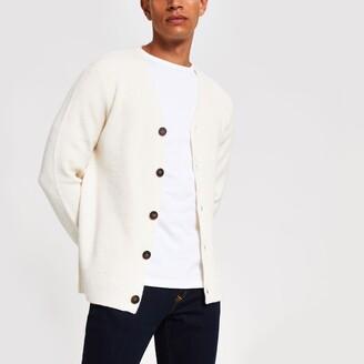 River Island Mens Ecru long sleeve button knitted cardigan