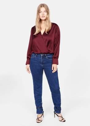 MANGO Violeta BY Satin body blouse maroon - 10 - Plus sizes