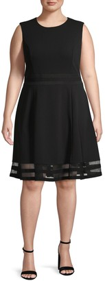 Calvin Klein Collection Mesh-Trimmed Fit & Flare Dress