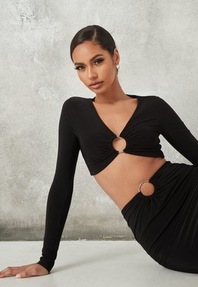 Missguided Black Co Ord Slinky Ring Detail Crop Top