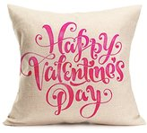 Rukiwa Valentine's Day Gift Lovers Painting Linen Pillow Case Flax Cushion (Multicolor-2)