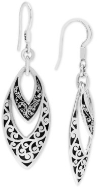 Lois Hill Scroll Work & Filigree Marquise Drop Earrings in Sterling Silver