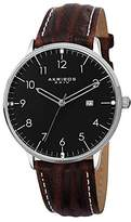Akribos XXIV Men's Retro Quartz Watch with Black Dial Analogue Display and Brown Leather Strap AK715SSB