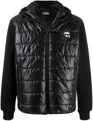 Karl Lagerfeld Paris hooded quilted-panel jacket