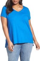 Eileen Fisher Plus Size Women's V-Neck Slub Organic Cotton Tee