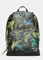 Gucci Men's Zaino Botanical Printed Leather Backpack In Black