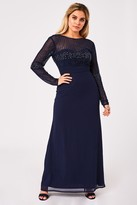 Little Mistress Georgie Navy Hand Embellished Maxi Dress