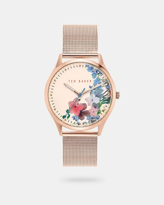 Ted Baker Floral Dial Mesh Strap Watch