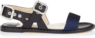 Jimmy Choo ASTRID FLAT Black Vacchetta Leather and Navy Techno Fabric Sandals