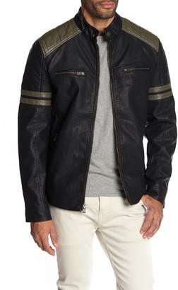 X-Ray Xray Faux Leather Olive Trim Moto Jacket