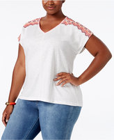 Style&Co. Style & Co. Plus Size Dolman-Sleeve Embroidered Top, Only at Macy's