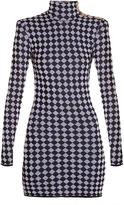 Balmain Diamond-knit high-neck mini dress