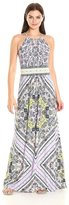London Times T1098M Scarf Print Jersey Dress