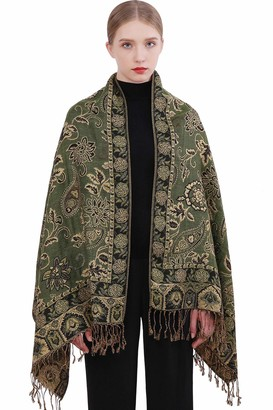 Riiqiichy Paisley Scarf Pashmina Shawls and Wraps for Women Long Large Gold Line Scarves with Fringe