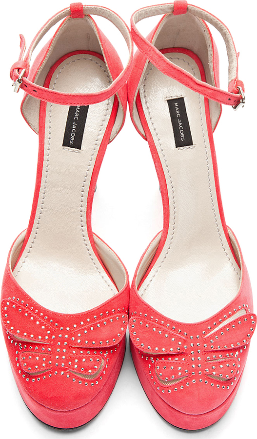 Marc Jacobs Bright Pink Suede Studded Ankle Strap Pumps