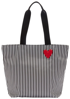 Lulu Guinness Black/Chalk/Red Heart & Stripes Bea Tote