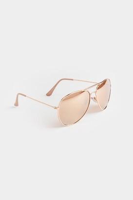 francesca's Lee Smokey Rosegold Aviator Sunglasses - Rose/Gold