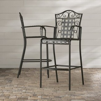 Darby Home Co Abbottsmoor Patio Bar Stool Color: Black