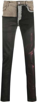 Rick Owens Colour-Block Skinny Jeans