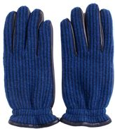 Orciani Leather And Wool Navy Gloves