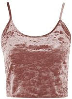 Tall crushed velvet crop camisole top