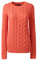 Lands' End Women's Petite Drifter Cotton Sweater-Sweet Persimmon