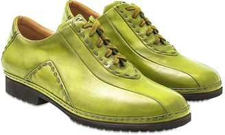 Pakerson Pistachio Italian Hand Made Calf Leather Lace-up Shoes