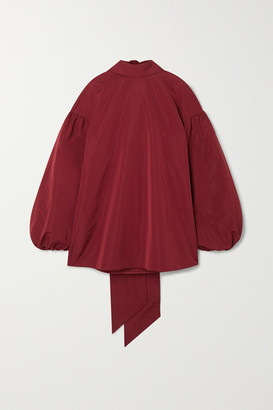 Valentino Oversized Tie-detailed Cotton-blend Poplin Blouse - Red
