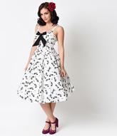 Unique Vintage 1950s White & Black Fish Bone Golightly Bow Swing Dress