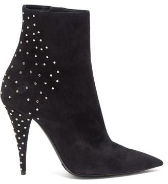 Saint Laurent Kiki Studded Suede Boots - Womens - Black