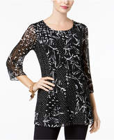 JM Collection Printed Lace Tunic Top, Created for Macy's