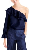 J.Crew Women's One-Shoulder Silk Shantung Top