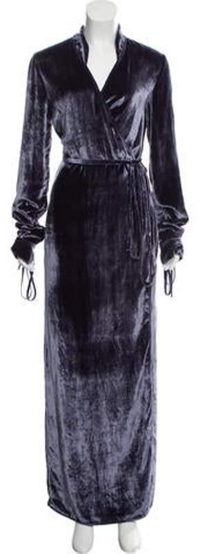 ATTICO Velvet Wrap Dress blue Velvet Wrap Dress