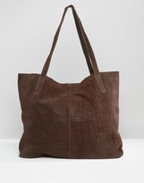 Asos Suede Embossed Croc Shopper Bag