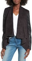 Blank NYC BLANKNYC Mixed Media Faux Leather Drape Front Jacket