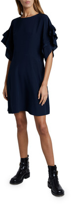 Chloé Silk Crepe Short-Sleeve Crewneck Dress
