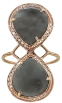 Jacquie Aiche Teardrop Lab Trinity Ring - Rose Gold