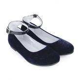 Stuart Weitzman Stuart WeitzmanGirls Navy Velvet Ankle Strap Shoes
