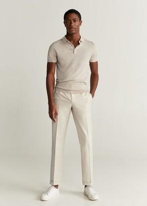 MANGO MAN - Cotton linen knit polo off white - S - Men