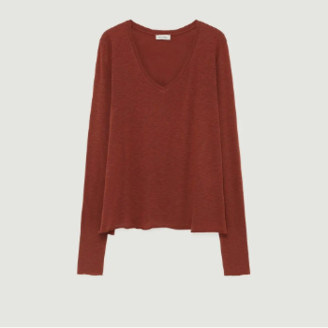 American Vintage Vintage Dark Red Cotton and Viscose Long Sleeves Kobibay T-shirt - cotton | dark red | small - Dark red