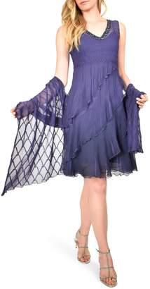 Komarov Short Tiered Dress With Shawl