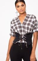 PrettyLittleThing Cream Check V Neck Corset Detail Shirt