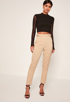Missguided Buckle Detail Cigarette Pants Nude