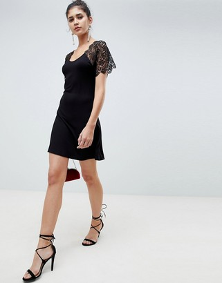 Asos Design DESIGN corded lace fit and flare mini dress-Black
