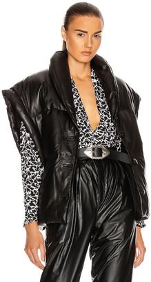 Etoile Isabel Marant Keyson Leather Vest in Black   FWRD