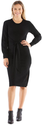 Wayne Cooper Black Knit Tie Waist Dress