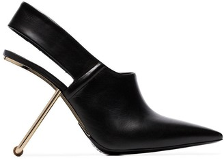 Poiret black 100 slingback cut out heel pumps