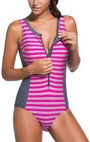 Sidefeel Women One Piece Swimsuit Monokini Zipper Front Swimwear Large Grey